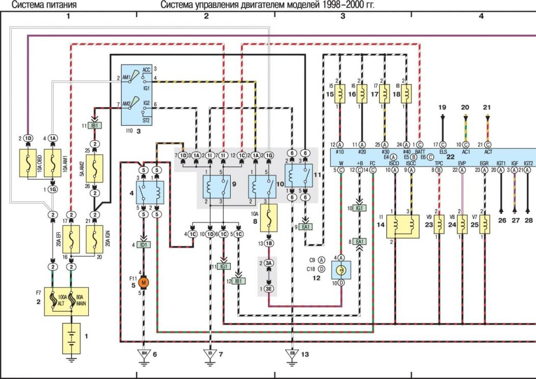 Система управления двигателем моделей 1998–2000 гг. (часть 1-я из 2)